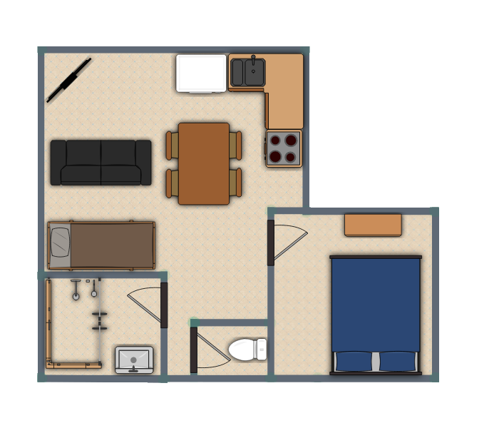 One Bed Brick Unit - Floor Plan